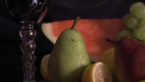 Still life with fruits on wood stock video