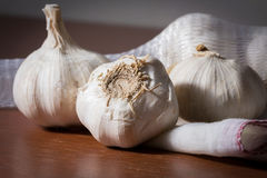 Still life garlic on wood table Royalty Free Stock Photo