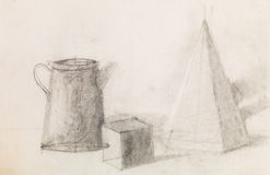 Still life with geometrical figures and metal jug. Hand drawn pencil sketch illustrating still life with geometrical figures and metal jug Stock Photos