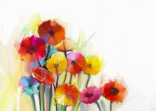 Still life of gerbera flower oil painting Royalty Free Stock Images