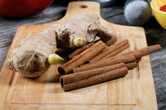 Still-life with ginger and cinnamon Stock Photography