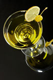 Still life with glass. With drink on the black background Royalty Free Stock Images