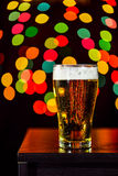 Still life, Glass of beer getting cool on bokeh  background Stock Photos