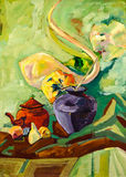 Still life glass fruits vase artistic acrylics painting Royalty Free Stock Image