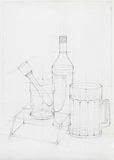 Still life with glass objects, sketch Stock Images