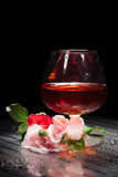 Still Life With Glass And Rose Royalty Free Stock Image