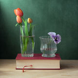 Still life with glass with tulips and glass with p Royalty Free Stock Photo