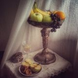 Still life with a glass of wine stock photo