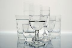 Group of glasses in black and white royalty free stock photo