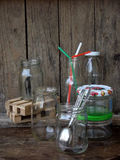 Still life with glassware. On wood table stock photo