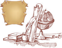 Still life with globe, books and old maps Stock Image