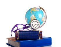 Still life with Globe, glasses and alarm clock Stock Photo