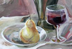 Still life gouache color painting the bottle, glass Stock Images