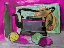 Still life gouache painting the kettle fruits Stock Photos