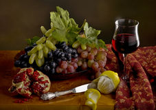 Still life with grape, lemon, pomegranate and wine Royalty Free Stock Images