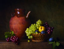 Still life with grapes and pears Stock Images