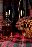 The still life with the grapes and it's products Royalty Free Stock Photo