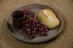 Still life with grapes, wine and bread Stock Photos