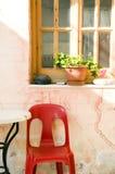Still life Greek Island cafe table Stock Photo