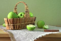 Still life with green apples Royalty Free Stock Image