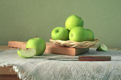 Still life with green apples Royalty Free Stock Photography