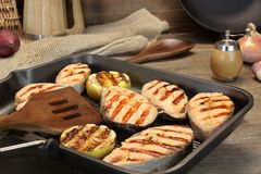 Still Life With Grilled Salmon Steaks In Rustic Style Stock Photos