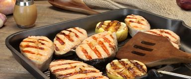 Still Life With Grilled Salmon Steaks In Rustic Style Stock Images