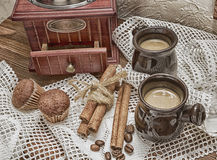 Still life with grinders, photo in old image style. Royalty Free Stock Photos