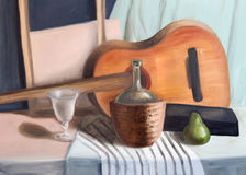 Still life with guitar stock illustration