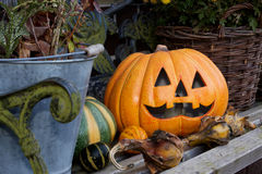 Still life Halloween. With a pumpkin and decoration Royalty Free Stock Images