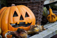 Still life Halloween. With a pumpkin and decoration Royalty Free Stock Image