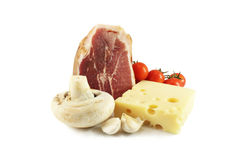 Still Life with ham and cheese Royalty Free Stock Photos