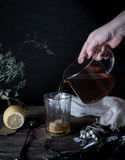 Still life. hands pour tea in transparent cup. dark background, vintage Stock Images