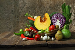 Still life harvested vegetables agricultural  on wooden backgrou Royalty Free Stock Photos