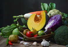 Still life harvested vegetables agricultural  on wooden backgrou Royalty Free Stock Photo