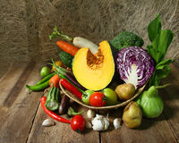 Still life harvested vegetables agricultural Stock Photos