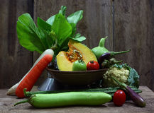 Still life harvested vegetables agricultural Royalty Free Stock Photos