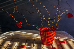 Still life hearts twigs tree love. Still life with hearts on twigs. Tree of love stock image