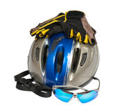 Still life with helmet and  sunglasses Stock Images