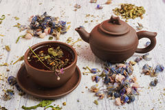 Still life- herbal and floral tea Stock Images