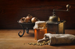 Still life with herbs and honey Stock Image