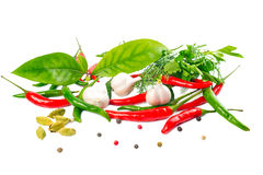 Still life with Herbs and Spices over white Stock Photo