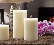 Still life of home lighting candles or catalyst lamp Royalty Free Stock Photo