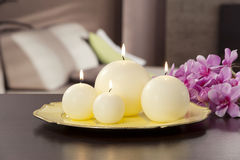 Still life of home lighting candles Stock Image