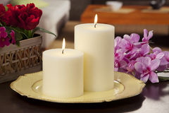 Still life of home lighting candles royalty free stock image