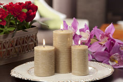 Still life of home lighting candles Stock Photography