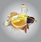 Still life. honey and cinnamon Royalty Free Stock Photos