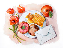 Still life with honey comb, cakes, envelope, apple and poppy Royalty Free Stock Photo