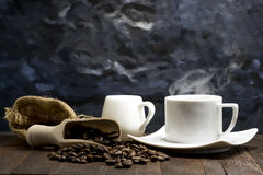Still life of hot espresso coffee in white cup Stock Image