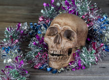 Still life. Human skull decorated with garlands on the old woode Royalty Free Stock Images